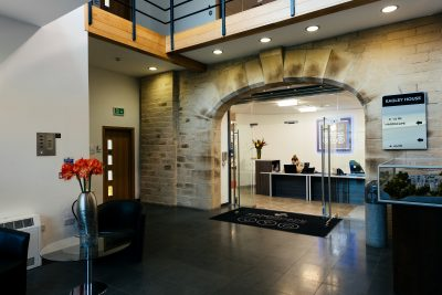 bolton serviced office space reception area