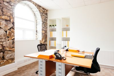 burnley north office with orange desks