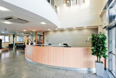 reception for manchester east serviced office