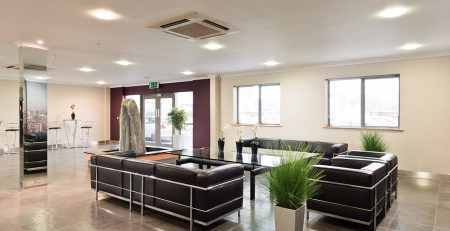 reception space at manchester east serviced office