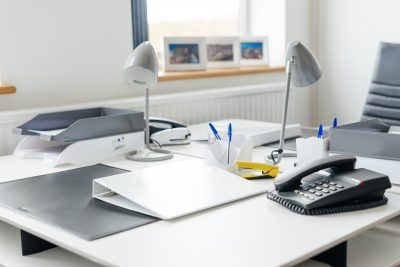 close up of white desks at dudley serviced offices