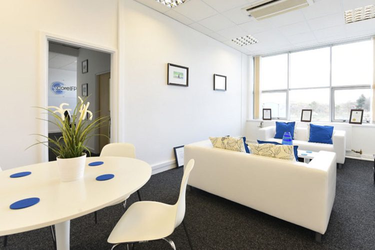seating area with small tables at hull serviced offices